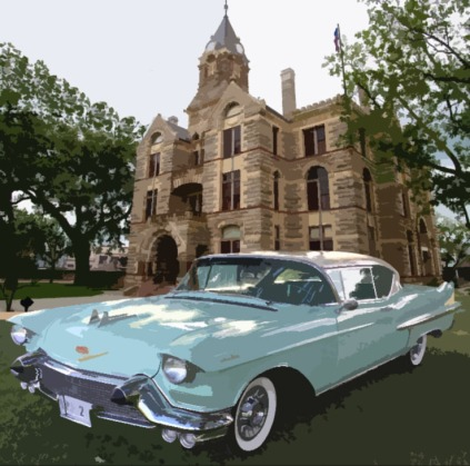 Oil painting cadillac with courthouse